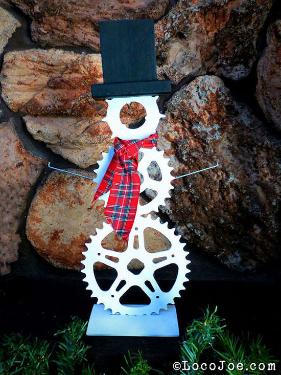Snowman Made From Gears And Sprockets